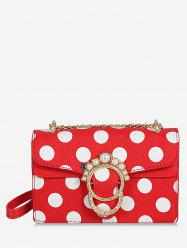 Polka Dot Flap Metal Buckle Faux Pearl Sling Bag -