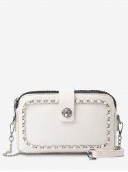 Faux Leather Minimalist Chain Decoration Crossbody Bag -