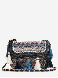 Flap Chain Tribal Patchwork Color Block Sling Bag -