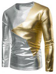 Two Tone Star Patch Performance Wear Shiny Long Sleeve Tee -