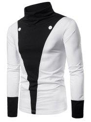 Color Block Chest Button Front Long Sleeve Tee -