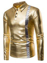 Gold Stamping Bold Stripe Splicing Polo Shirt -