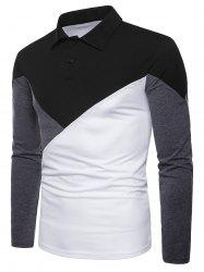Casual Patchwork Polo Collar T-shirt -