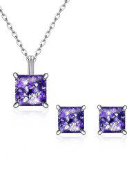 Shiny Square Crystal Inlaid Pendant Necklace Earrings Suit -