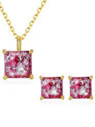 Stylish Faux Gem Inlaid Pendant Necklace Stud Earrings Set -