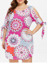 Plus Size Self Tie Sleeve Ethnic Print Dress -