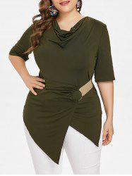 Cowl Neck Asymmetrical Plus Size T-shirt -