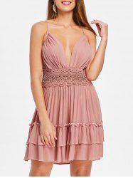 Crochet Insert Back Cut Out Party Dress -