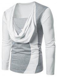 Two Tone Chest Scarf Combined Long Sleeve T-shirt -