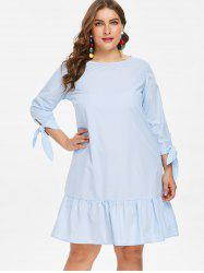 Plus Size Knot Sleeve Flounce Dress -