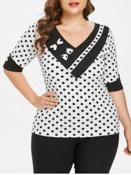 Plus Size Polka Dot Half Sleeve T-shirt -