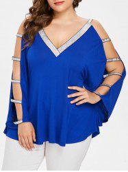 Plus Size Ladder Cutout Batwing Sleeve T-shirt -