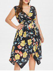 Plus Size Flower Surplice Plunging Dress -