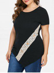 Plus Size Lace Panel Asymmetric T-shirt -