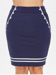 Plus Size Button Embellished Pencil Skirt -