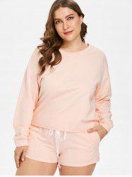 Plus Size Drop Shoulder Tee and Shorts Set -