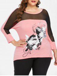 Plus Size Sheer Open Back T-shirt -