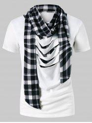 Distressed Plaid Print Scarf Collar T-shirt -