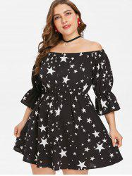 Plus Size Stars Print Mini Dress -