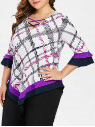 Plus Size V Neck Plaid T-shirt -
