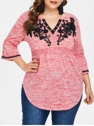Plus Size Flare Sleeve V Neck T-shirt -