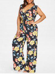 Plus Size Sleeveless Wide Leg Surplice Jumpsuit -