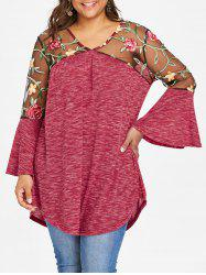 Plus Size V Neck Embroidery T-shirt -
