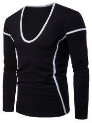 Contrast Color Seam Detail Long Sleeve Casual T-shirt -