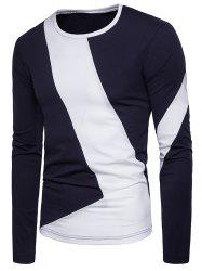 Color Block L Shaped Patchwork Long Sleeve T-shirt -