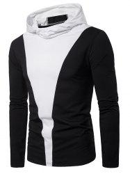 Color Block Long Sleeve Hooded T-shirt -
