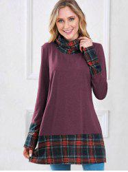 Plaid Insert Turtleneck Sweatshirt -