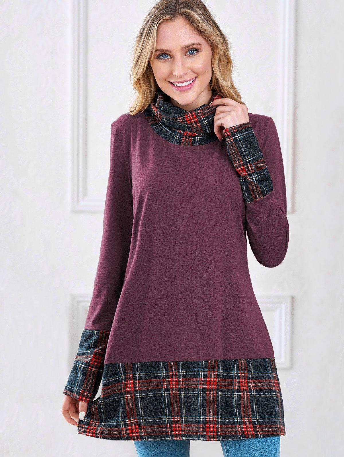 Chic Plaid Insert Turtleneck Sweatshirt
