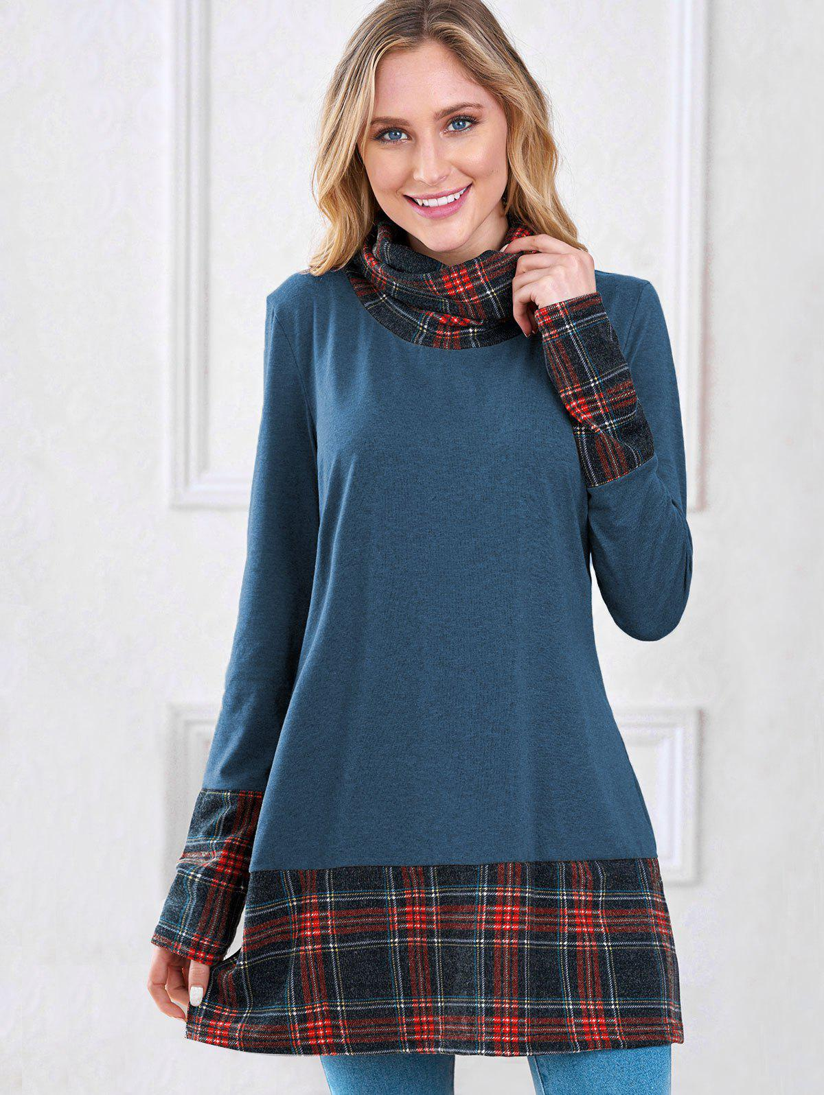 Plaid Insert Turtleneck Sweatshirt