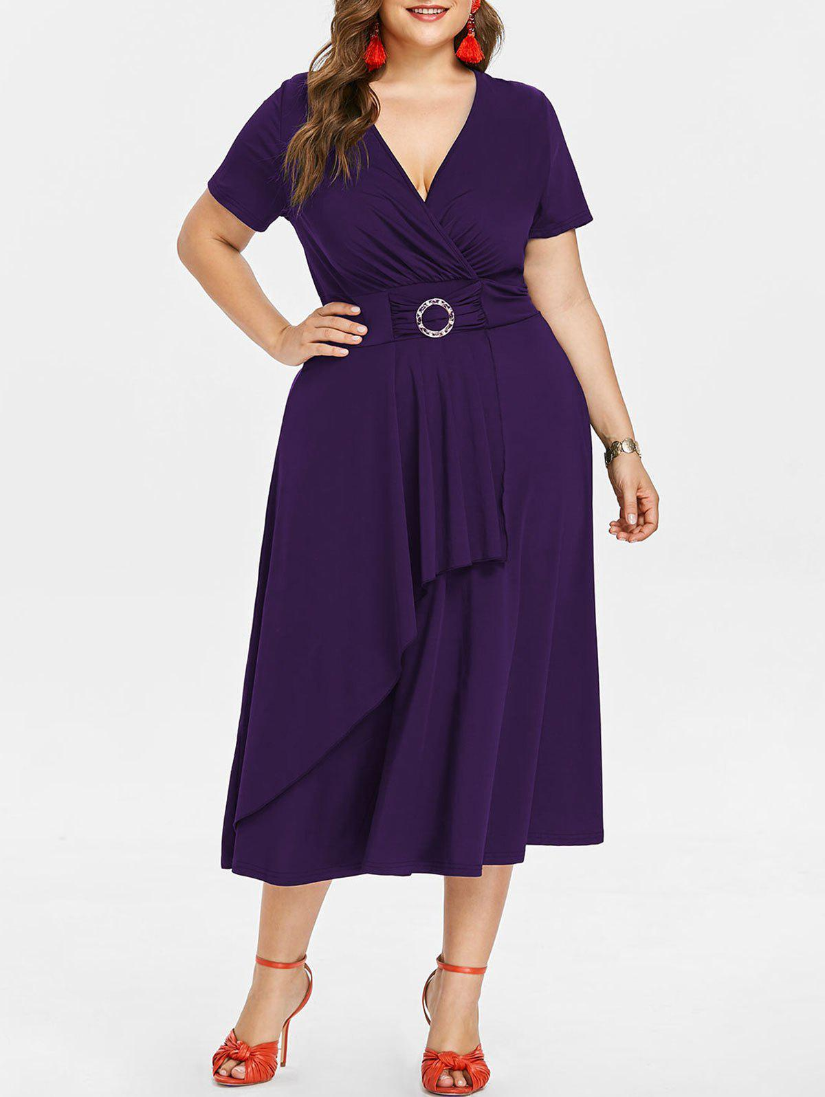 Outfits Plunging Neck Plus Size Asymmetrical Dress
