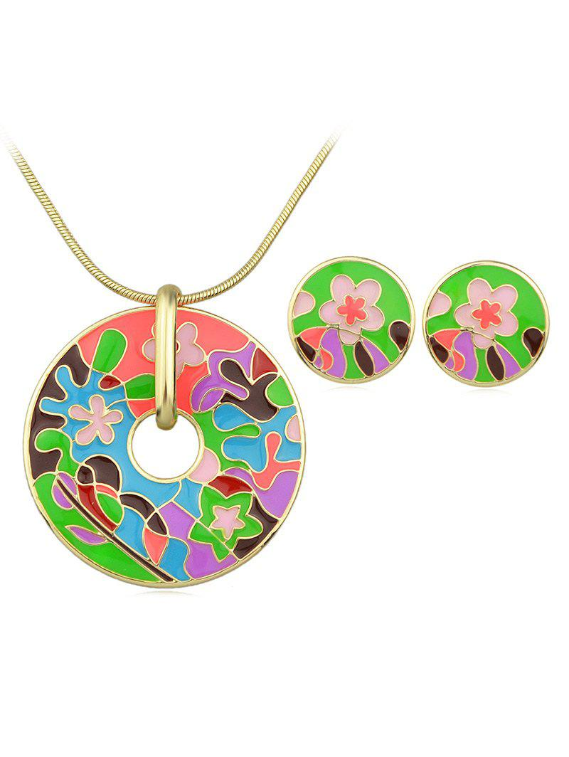 Outfit Flower Print Round Shaped Necklace Earrings Set