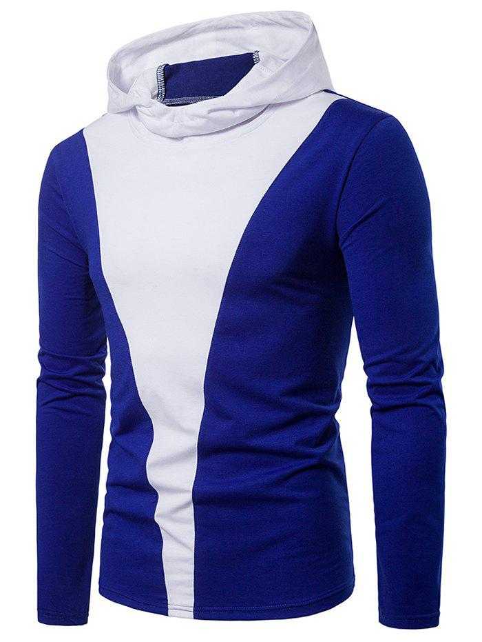 Discount Color Block Long Sleeve Hooded T-shirt