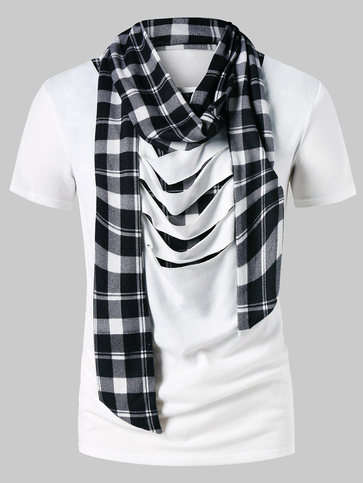 Affordable Distressed Plaid Print Scarf Collar T-shirt