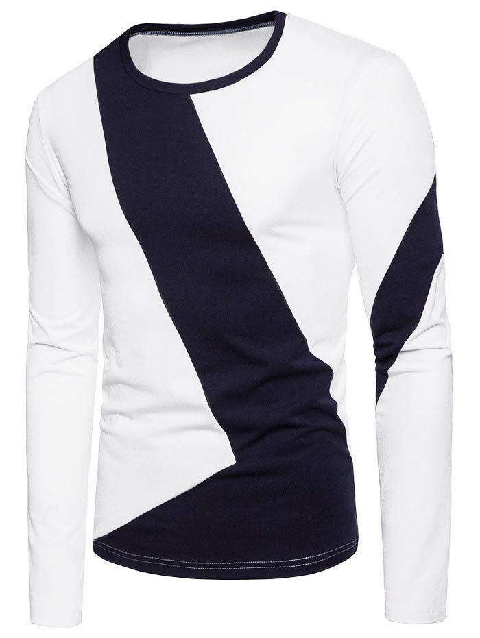 Outfit Color Block L Shaped Patchwork Long Sleeve T-shirt