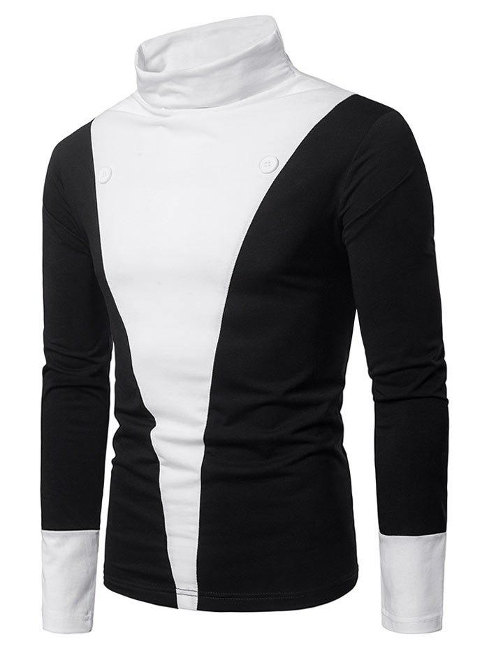 Sale Color Block Chest Button Front Long Sleeve Tee