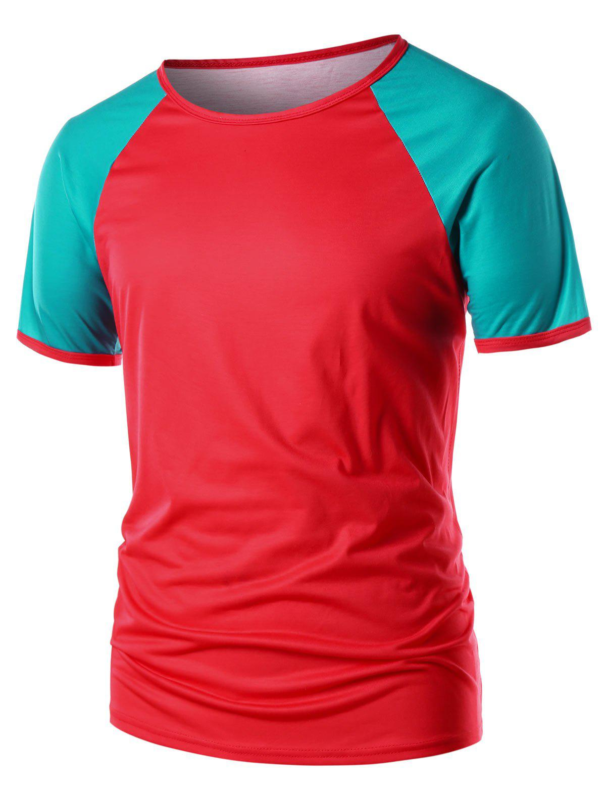 Outfit Raglan Sleeve Contrast Color T-shirt