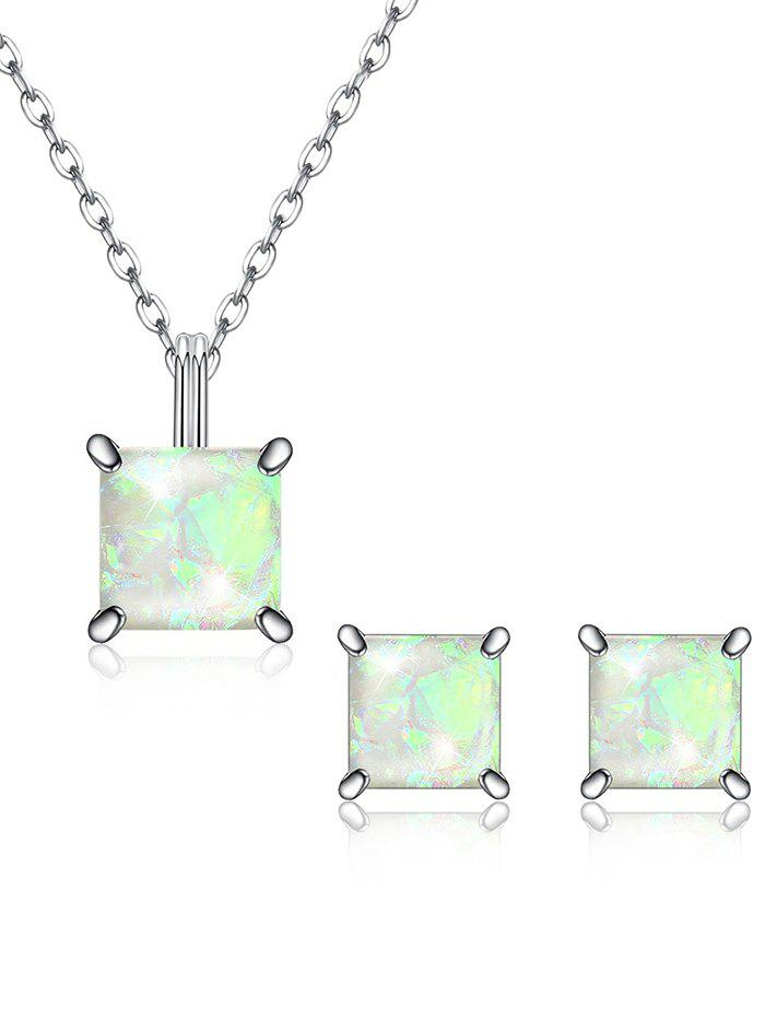 Best Shiny Square Crystal Inlaid Pendant Necklace Earrings Suit
