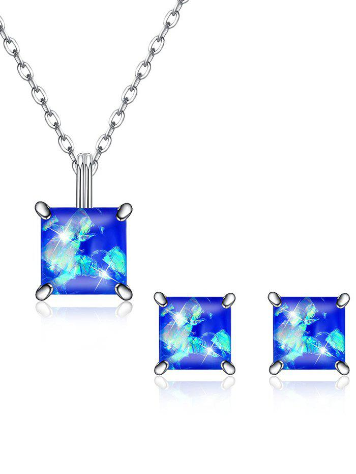 Online Shiny Square Crystal Inlaid Pendant Necklace Earrings Suit