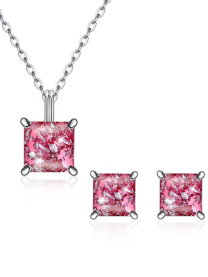 Latest Shiny Square Crystal Inlaid Pendant Necklace Earrings Suit
