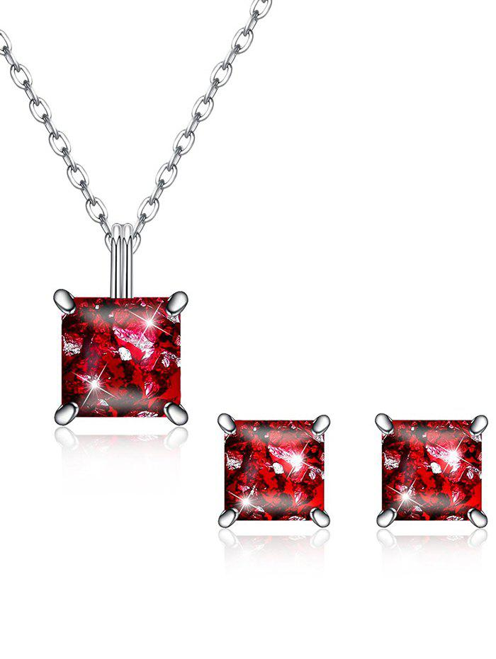 Discount Shiny Square Crystal Inlaid Pendant Necklace Earrings Suit