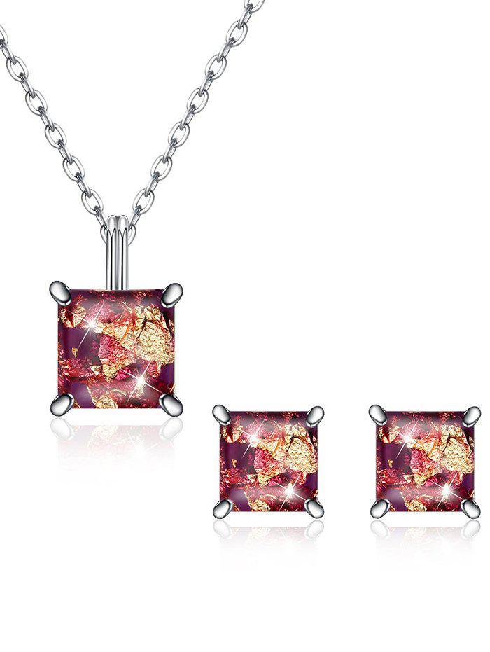 Outfit Shiny Square Crystal Inlaid Pendant Necklace Earrings Suit