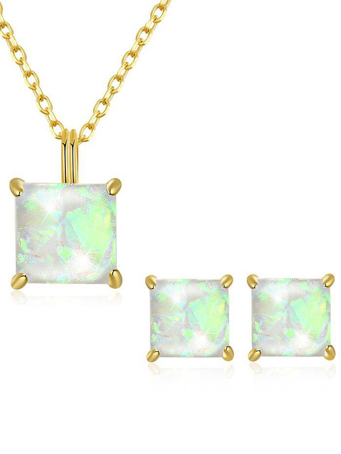 Outfits Stylish Faux Gem Inlaid Pendant Necklace Stud Earrings Set