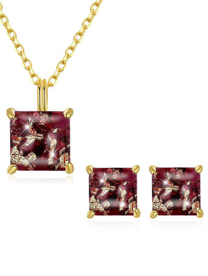 Fancy Stylish Faux Gem Inlaid Pendant Necklace Stud Earrings Set