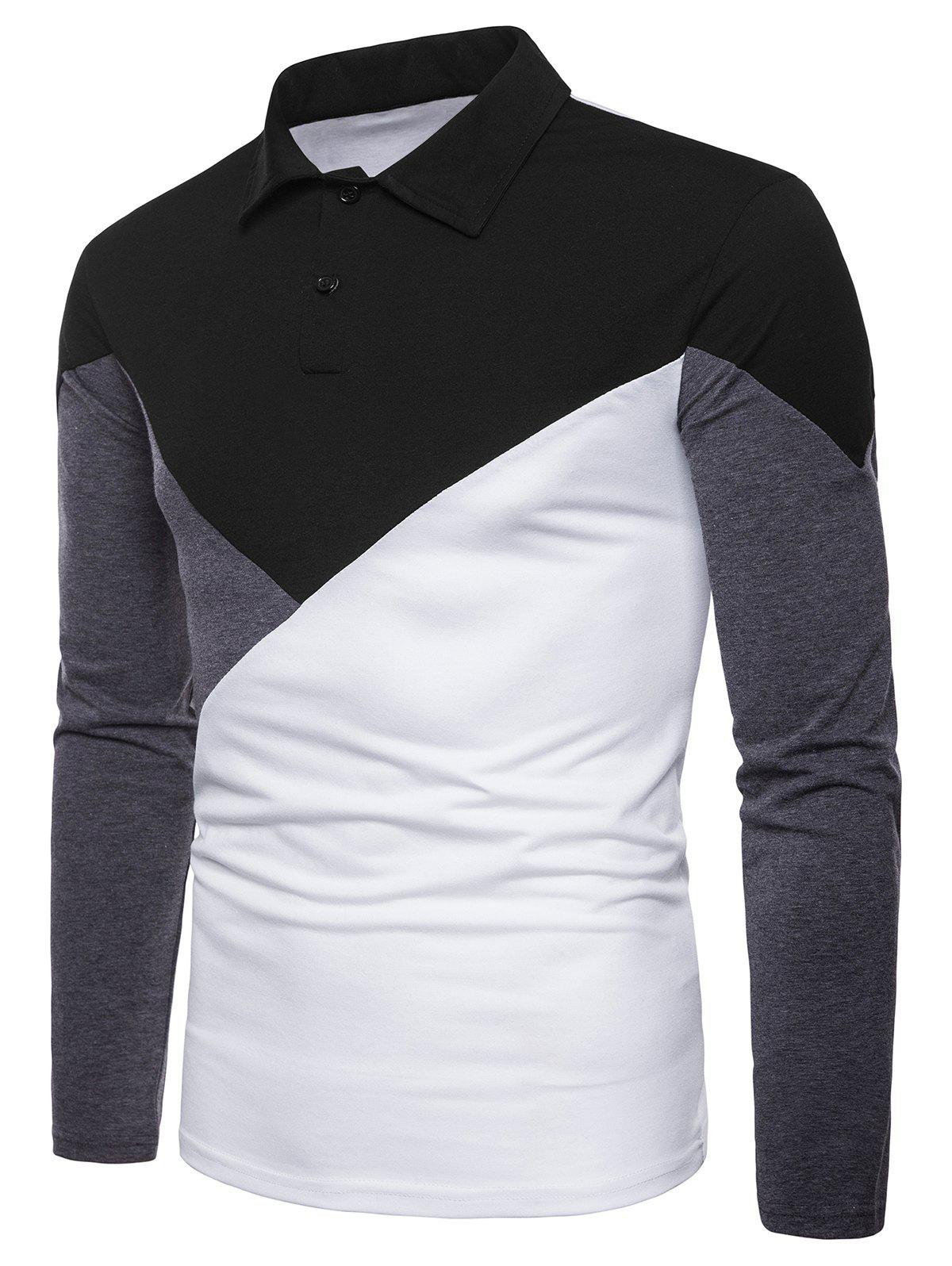 Fashion Casual Patchwork Polo Collar T-shirt