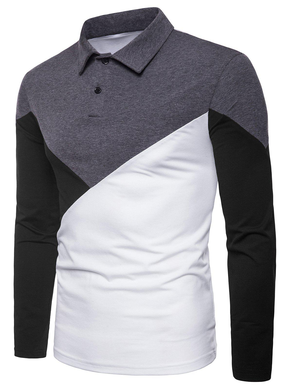 Best Casual Patchwork Polo Collar T-shirt