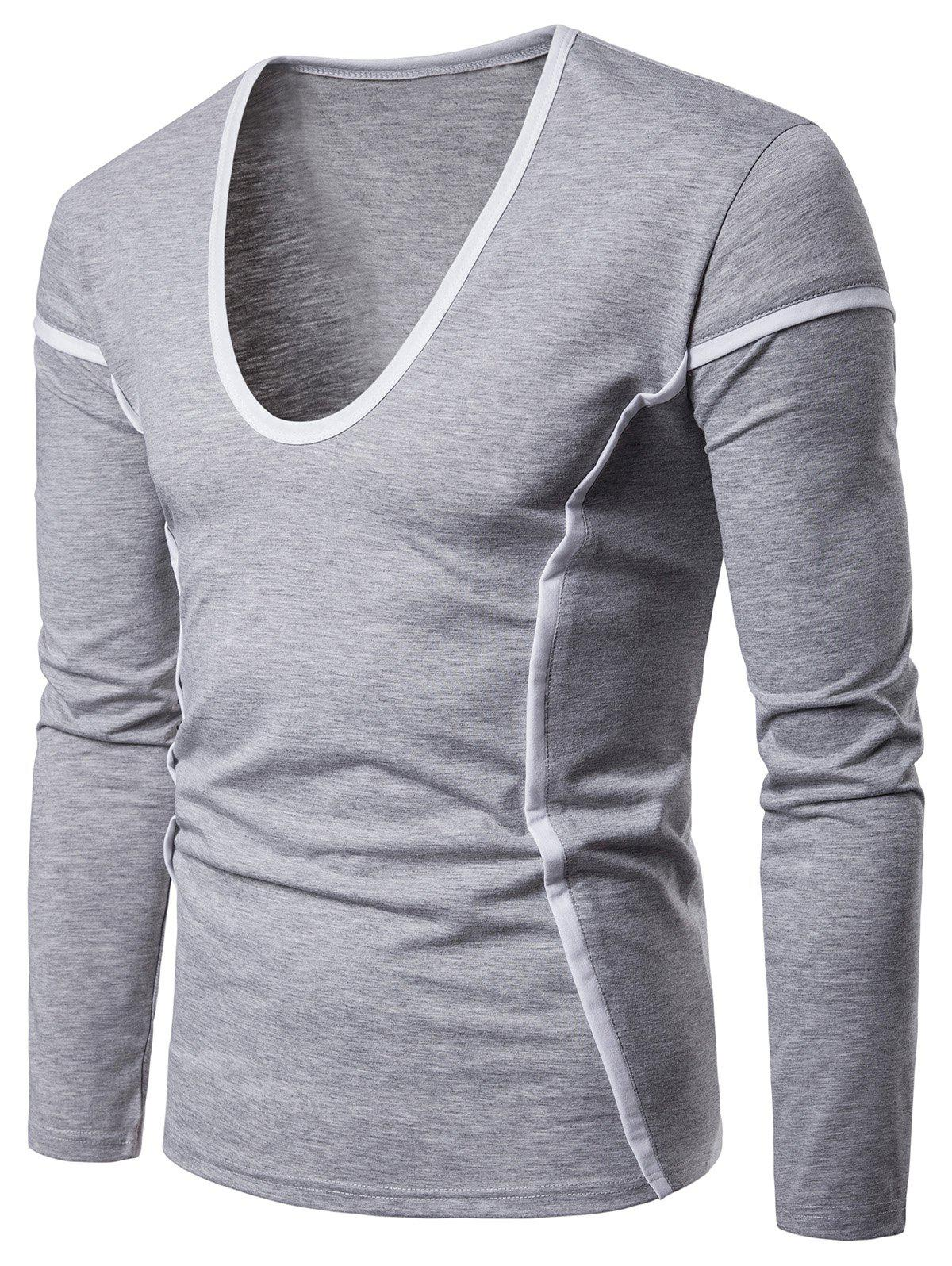 Shop Contrast Color Seam Detail Long Sleeve Casual T-shirt